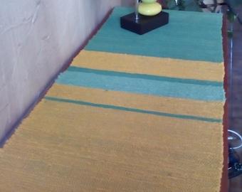 Handwoven Table Runner Cotton Green Yellow