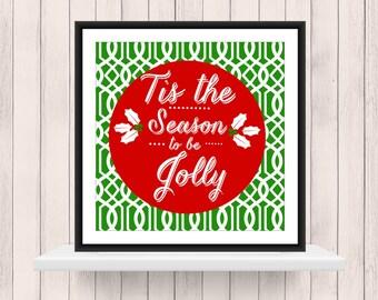 Christmas Decor -  Tis the Season on Lattice Background  - Christmas  Word Art