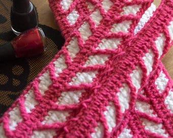 Lattice Gloves - Adjustable Crochet Fingerless Gloves in Pink & White