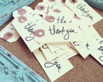 Thank You Tags, bulk 50 ct for Weddings, Parties, Favors - THANK YOU Tag - Thank You Mini Tag - Thank you Stamped Tag - Thank you White
