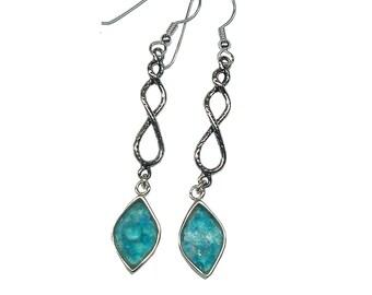 Roman Glass Diamond Shaped Earrings, Blue Roman Glass Earrings, Roman Glass Jewelry, Long design Silver Earrings, Unique Dangle Earrings