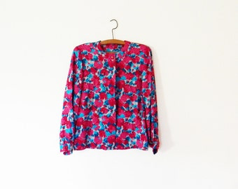 Vintage Fuchsia Floral Blouse with Teal Leaves / Bright Floral Statement Blouse / Bold Garden Floral Top