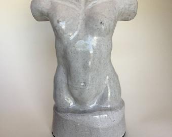 Female torso white glaze