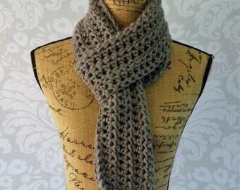 Unisex Scarf Crochet Knit Grey Gray Women's Accessories  Fall Winter Ready To Ship