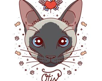 Custom portrait, Custom cat portrait, Custom pet portrait, Cat painting, Pet illustration, Art digital file, Whimsical portrait, Cat cartoon