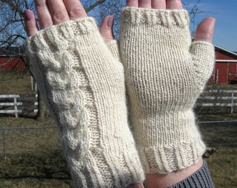 White Knit Fingerless Texting Cabled Gloves, Mother's Day Gift