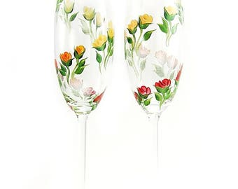 2 Hand Painted CRYSTAL Champagne Flutes - Original Design, Red, Orange, Yellow, Peach Roses, Set of 2 - Wedding Toast Glasses