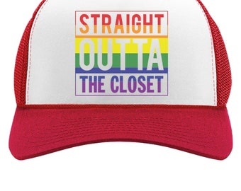 Straight Outta The Closet Trucker Hat Gay Lesbian Equality Trucker Hat Mesh Cap