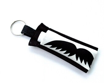 Chapstick Holder Keychain, Lip Balm Holder, Chapstick Holder, Lip Balm Keychain, Lip Balm Case, Mustaches Lip Balm Cozy, Mega Mustaches