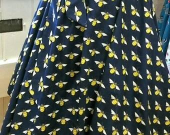 Novelty circle skirt | full circle skirt | bee print  skirt | women's skirt | 50's skirt| rockabilly | bees | 1950s inspired | bee clothing