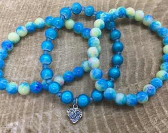 Blue Beaded Bracelet Set with dangling Heart charm
