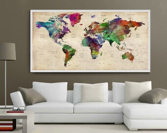 Giant world map etsy giant world map decorative push pin large world travel wall map personalized map wall gumiabroncs Image collections