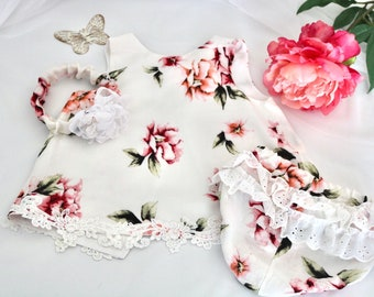 Toddler Flower Girl Dress/bloomers/headband made from Repurposed Fabric Size 18 mths