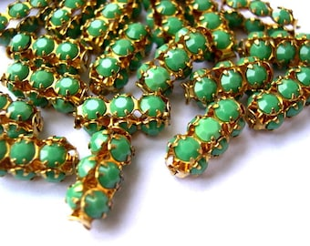 2 Vintage SWAROVSKI  beads green opaque crystals in metal setting genuine 1100 made in Austria