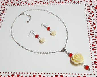 Large Rose Necklace - White Rose Gifts - White Rose Earrings - Valentine's Jewelry for Wife - Red Valentine's Day Gifts - Large Rose Pendant