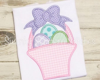 Easter Basket with Bow Girls Applique Shirt, Girls Eggs in Basket Shirt.