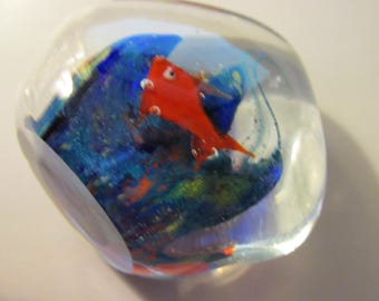 Vintage Clear Glass Paperweight with Red Fish and Blue Seaweed, 2 1/2""