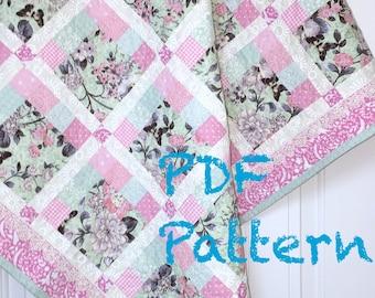 Modern Quilt Pattern, 2 sizes, Baby Quilt Pattern, Lap Quilt Pattern, Baby Girl Quilt Pattern, Sewing Pattern, Quilt PDF Pattern 2 sizes