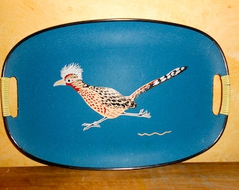 Road Runner Mod Large Blue Vintage Tray with Bamboo Handles Barware