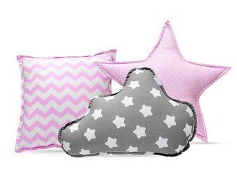 Pillow Set - Cozy Gray Stars Pink