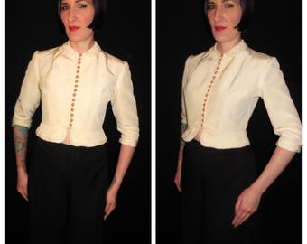 Vintage 1940's 1950's White Rayon Faille Fitted Peplum Button Up Bolero Jacket by Jonathan Logan - size Medium