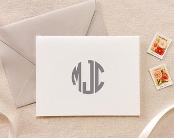 Letterpress Monogram Folded Card Stationery, Set of 50 or more, initials, note cards, anniversary, thank you, wedding gift, bridesmaid gift
