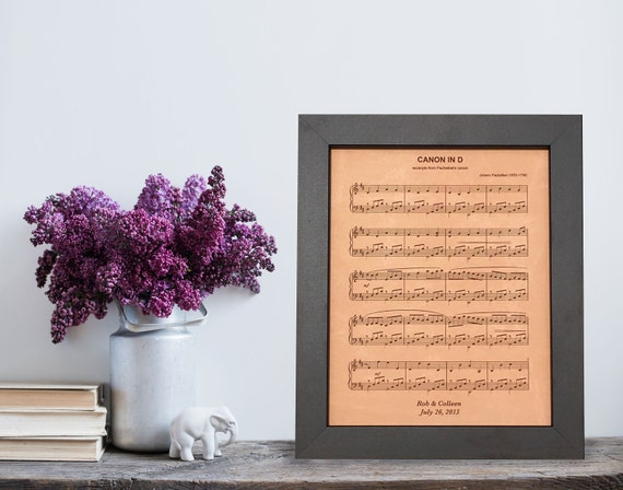 3rd Wedding Anniversary Leather Gifts: Leather Anniversary Gift Engraved Sheet Music 3rd