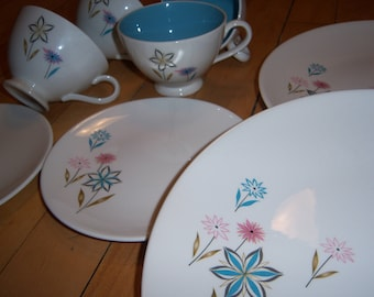 Vintage Atomic Mid Century China 1950's Mystic Garden Oven Proof Knowles By Kalla Tea Coffee Cups Dinner Plates Turquoise Pink Set of 8