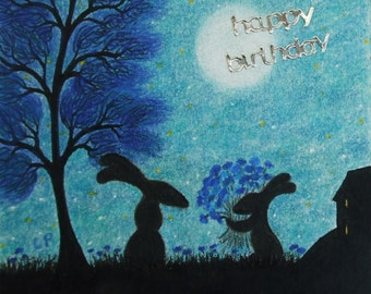 Rabbit Birthday Card, Kids Birthday Card, Rabbit Flowers Card, Hare Birthday Card, Children Bunny Card, Mother Child Flowers Card, Moon Tree