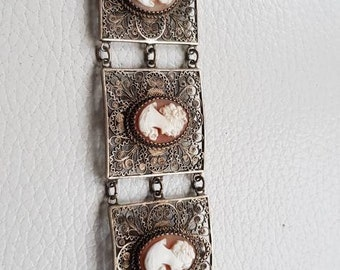 Filigree Silver bracelet with gems Camee