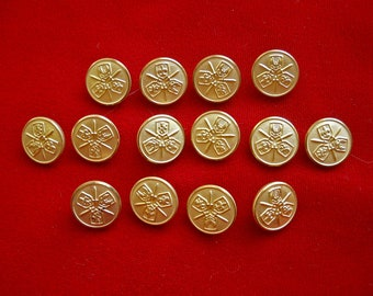 14 Gold Tone Metal Shank Buttons with Heraldry Crest Shield & Sword for Renaisance Costume
