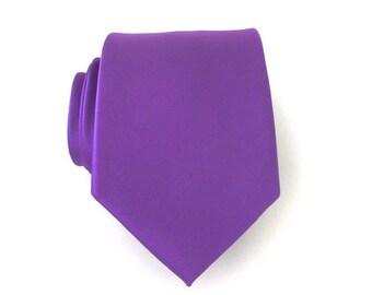 Purple Mens Necktie With *FREE* Matching Pocket Square Purple Silk Mens Tie Pocket Square Set