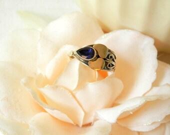 Sterling Silver Sapphire Ring, September Birthstone Ring, Sapphire Ring