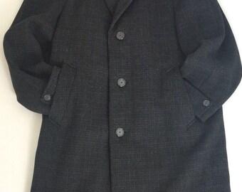 Vintage Crombie Maenson Overcoat Pure Wool Black/Grey Long Over Coat