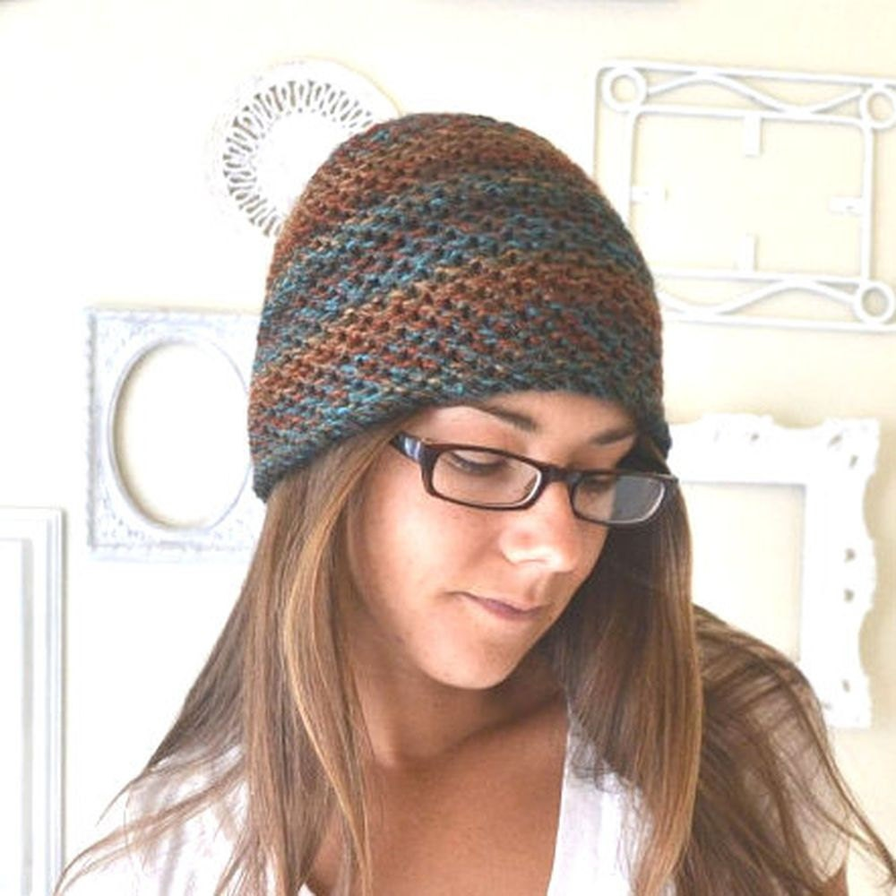 Knit Beanie Hat Pattern Skull Cap Mens Womens Waffle Stitch Knitting ...