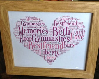 A4 Personalised Word Art Heart Print (UK ONLY)/Download