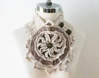Rose Window Scarf,  Stone Tracery, Architectural Scarf, Ivory & Beige scarf, Crochet Scarf, Ivory Rose Window Brooch, Tracery