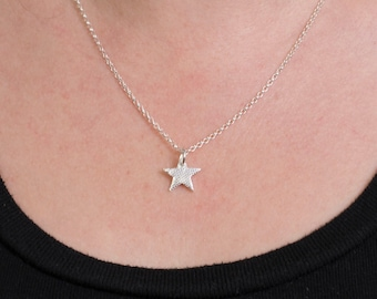 Eco Silver Sparkly Star Pendant Handmade Necklace, Gift for her, alternative wedding