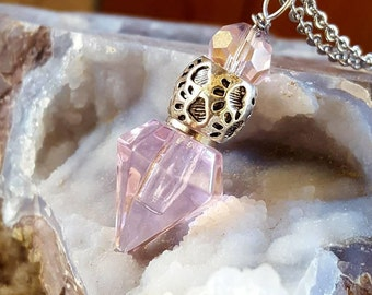 Crystal Point Pet Urn | Paw Print Urn | Pink Urn Necklace | Pet Urn Jewelry | Pet Cremation Jewelry | Pet Ash Necklace | Pet Loss Memorial