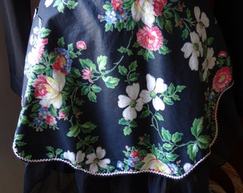 Kitchen Apron Vintage 80's Black Reversible Floral with Pink Trim