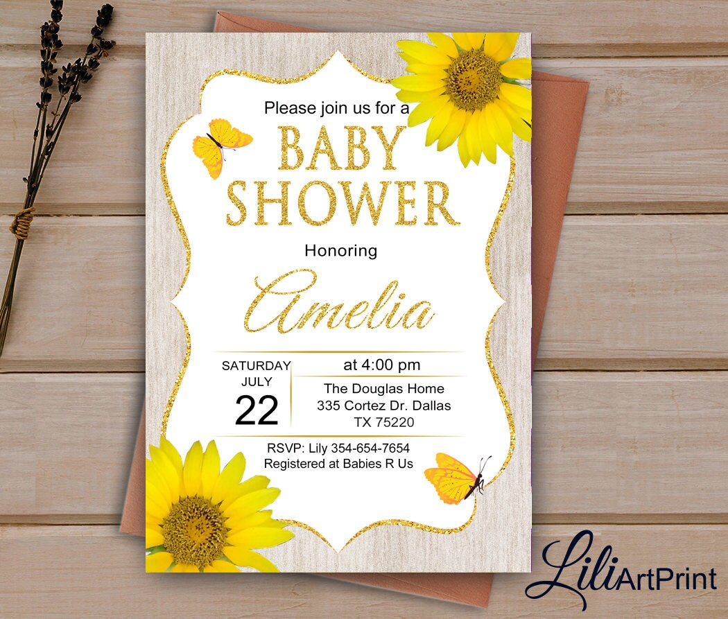 Sunflower Baby Shower Invitation Printable Baby Shower
