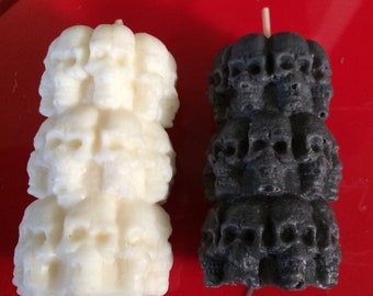 Skull Pillar Candles -Vanilla Scented Black or White