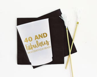 40th Birthday Cups Personalized Plastic Cups 40 and Fabulous Frosted Cups Black Gold 40th Birthday Party Supplies Custom 40th Party Cups