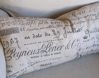 French Script  Pillow COVER ONLY 12x26