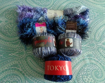 Blue Lot of Novelty Art Four Different Yarns