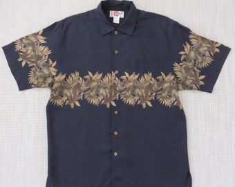 Hawaiian Shirt HILO HATTIE Black Aloha Shirt 100% Silk Resort Wear Tropical Foliage Print Bands Surfer Men Camp - M - Oahu Lew's Shirt Shack