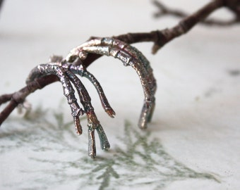 Sterling Silver Twig Hoop Earrings  Nature Inspired Rustic Silver Hoop Earrings   Handmade Rustic Woodland Jewelry