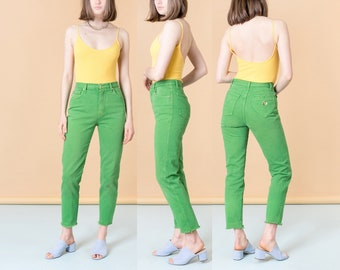 HIGH WAIST MOSCHINO jeans made in Italy vintage 90S women frayed bottom hem Lime Green / Size 7 / 28 Inch Waist