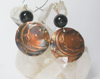 Moon and Stars Celestial Copper  Earrings, Embossed, Antiqued, Gifts for her,