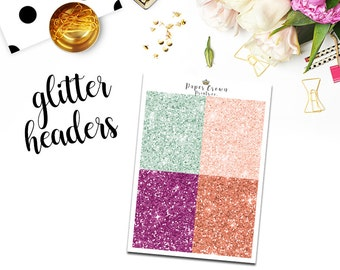BLOOMING Glitter Headers/ Planner Stickers for use with Erin Condren Life Planner/Happy Planner Stickers/Header Sticker Kit/Weekly Kit